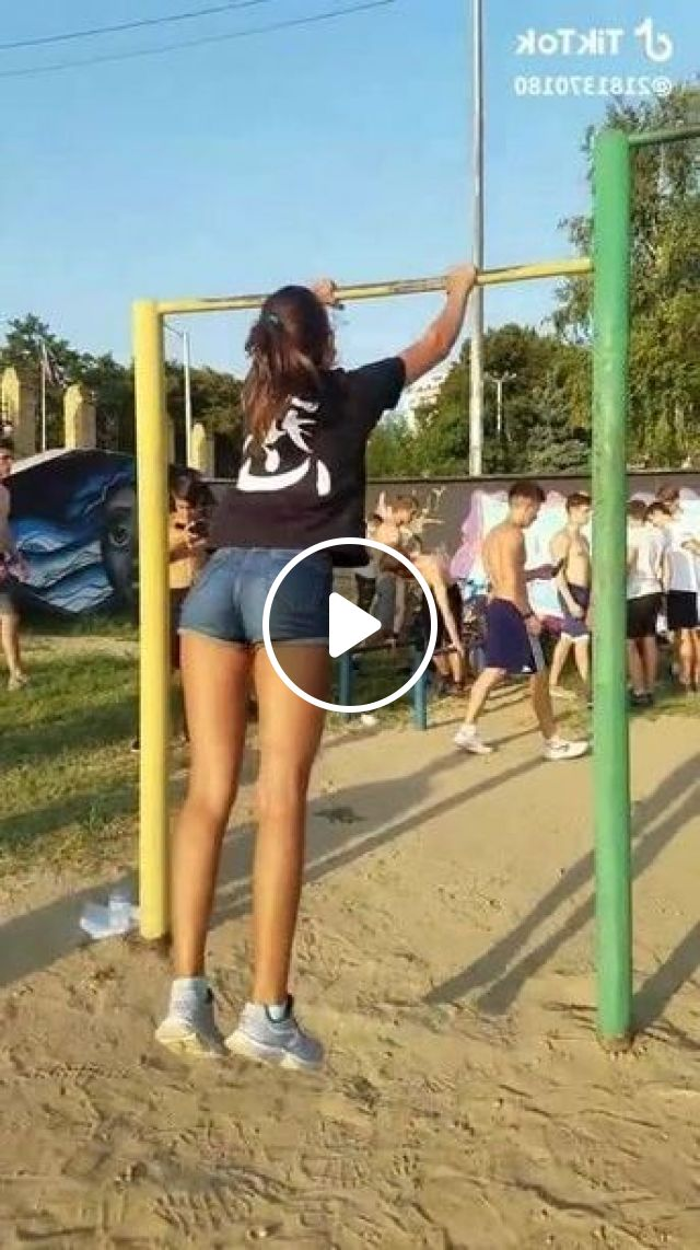 Girl Is Exercising With Single Bar - Video & GIFs   girl, female fashion, fitness, single bar, sports equipment