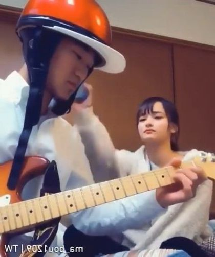 Man and girl with musical instruments create a great sound - Video & GIFs | art & design,men,girls,men and women fashion,musical instruments,great sound,melody,electric guitar