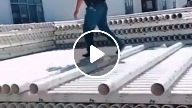 A Man Is Moving Plastic Pipes To Put On A Truck - Video & GIFs | auto & technique, cargo truck, truck, commercial plastic, factory