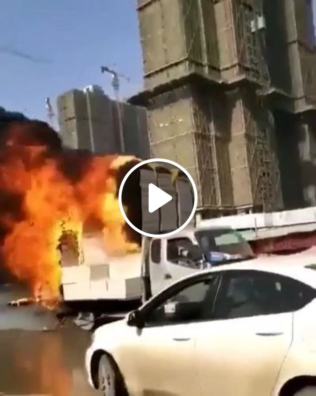 Man Driving A Burnt Cargo Truck In City - Video & GIFs   auto & technique, man, driver, cargo truck, burnt, car insurance, city, luxury vehicles, luxury cars