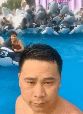 Tourists swimming in pool are happy