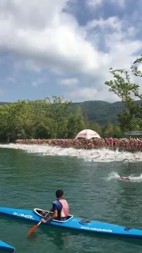 A lot of people in swimming festival